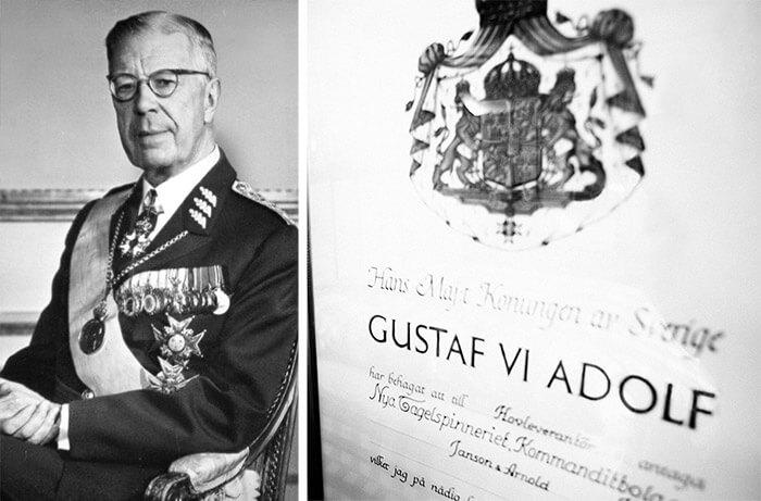 Король Швеции Густав VI Адольф назначил Hastens официальным Королевским поставщиком
